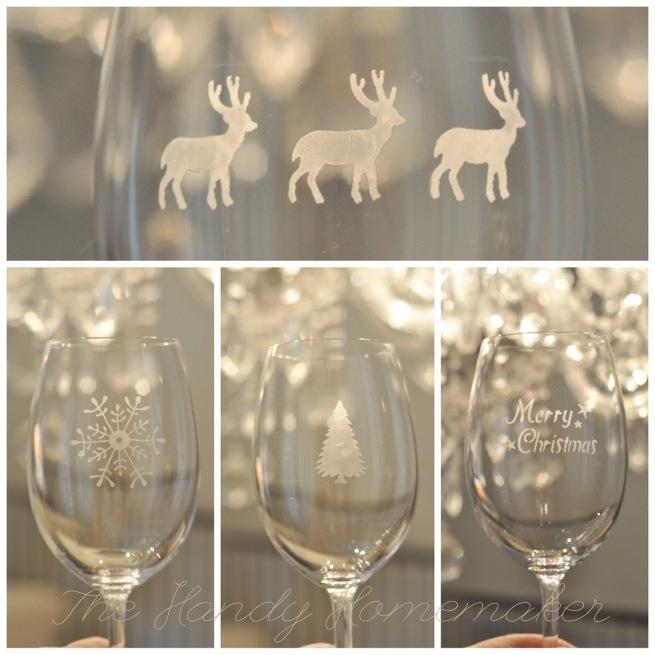 Wine glass etching for Martha stewart christmas wine glasses