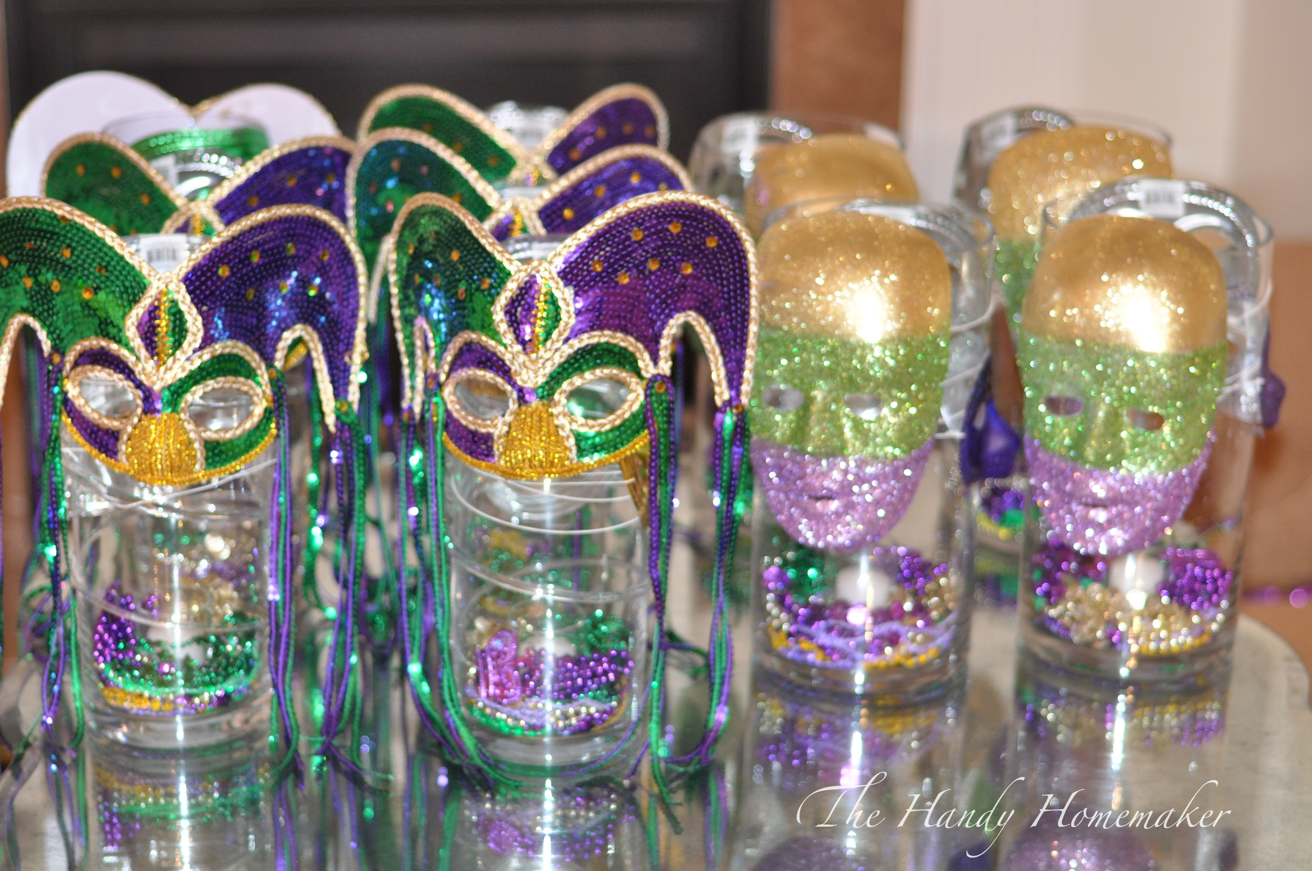 Purple Masquerade Centerpieces Mardi gras masquerade party
