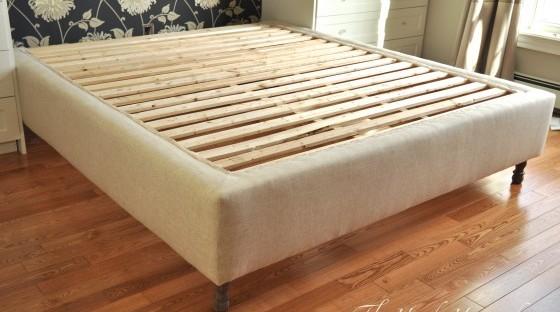 upholstered bed frame diy part 1 the handy homemaker. Black Bedroom Furniture Sets. Home Design Ideas