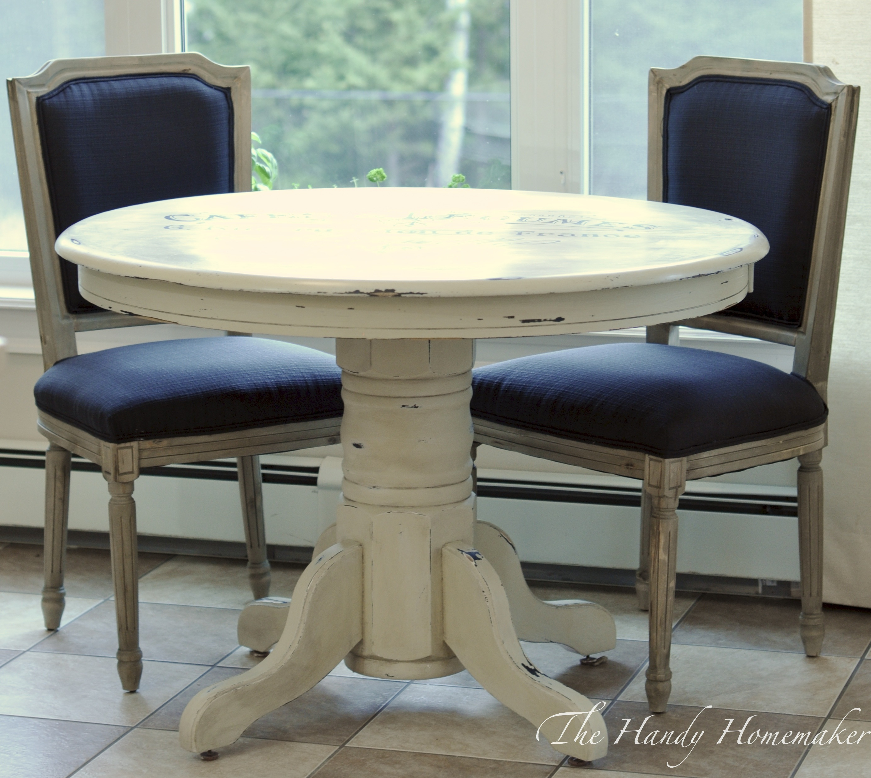 Parisian Script Table Using Milk Paint. Full resolution  photo, nominally Width 2771 Height 2478 pixels, photo with #3A4765.