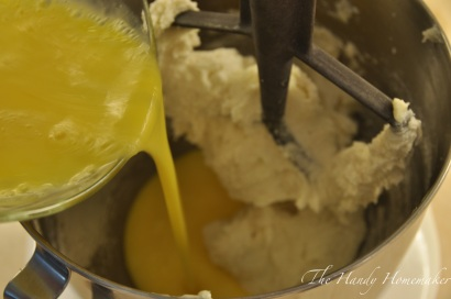 Pour whisked eggs into the bowl