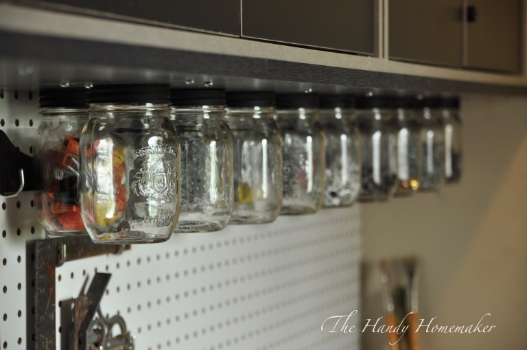 Hang Mason Jars from Shelf For Storage | Extra Space Storage Ideas | Make Your Space Work For You