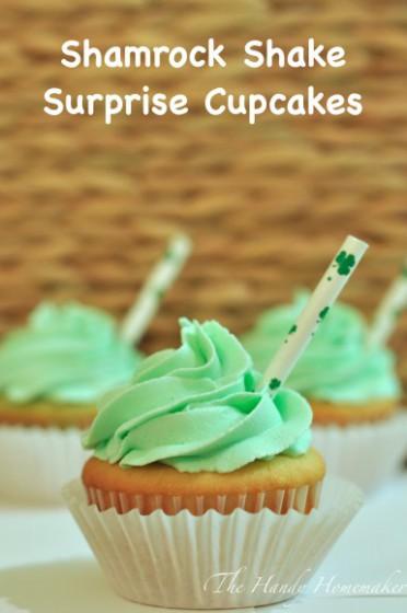 Shamrock Shake Surprise Cupcakes