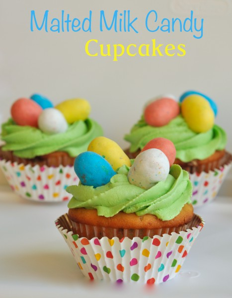 Malted Milk Candy Easter Cupcakes