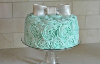 ROSETTE BABY SHOWER CAKE 2