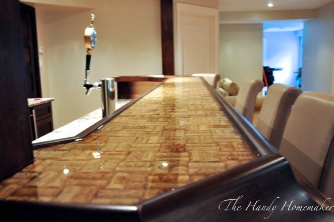 Make a bartop or countertop with cork epoxy the handy for Wine cork bar top